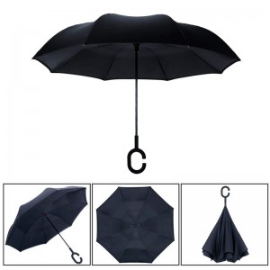 Windproof Double Layer Black Inverted Umbrella, Self Stand Upside-Down Rain Protection Car Reverse Umbrellas with C-Shaped Handle