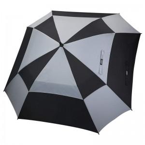 62inch Auto open golf umbrella grey and black double canopy vented square umbrella for sale