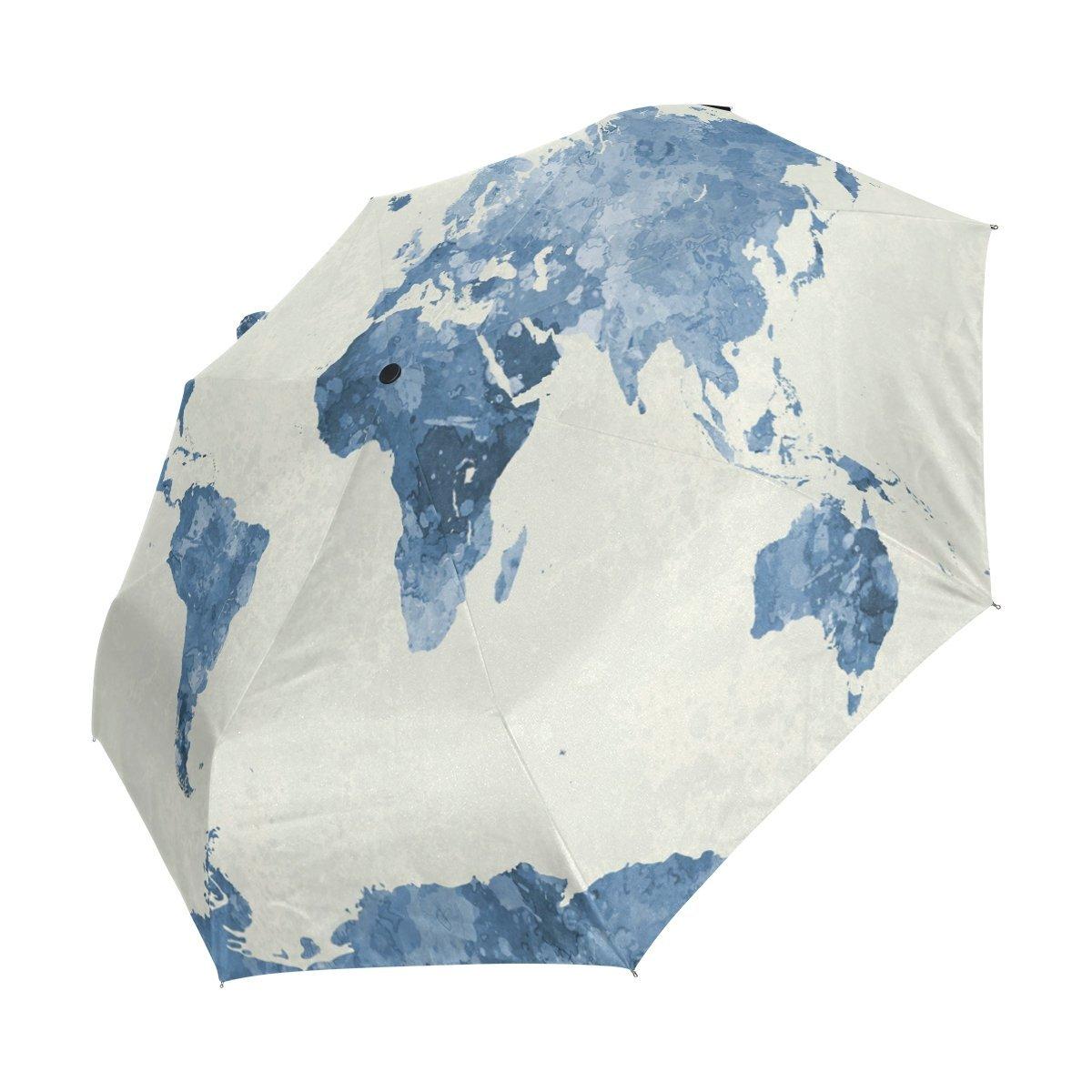 Factory wholesale custom Watercolor World Map 3 Folds Auto Open Close Umbrella