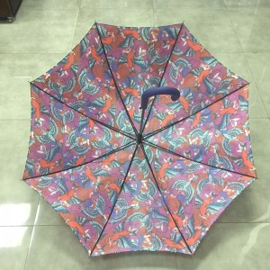 2019 Automatic Open Windproof Rain straight fashion design full color custom printed Birds and Flowers Umbrella for gift