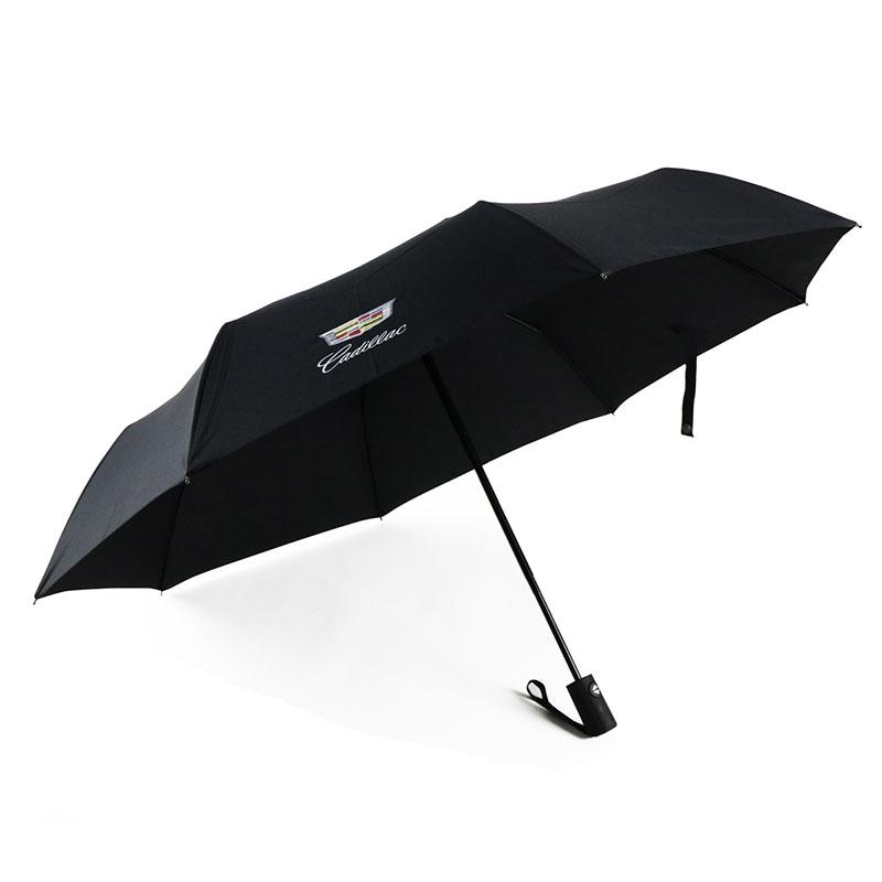 Fully automatic shrinkage three folding umbrella black business