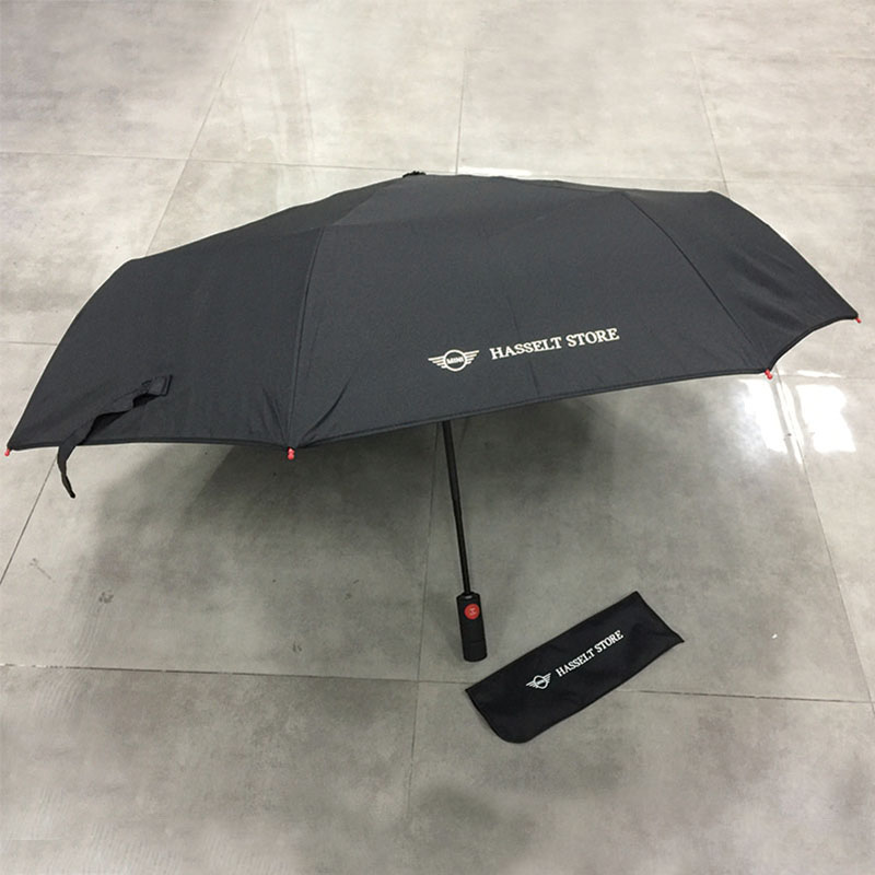 Wholesale Made in China High quality Red fibergalss ribs Auto open close customized printing Portable pocket fold umbrella with Car Logo (BMW)