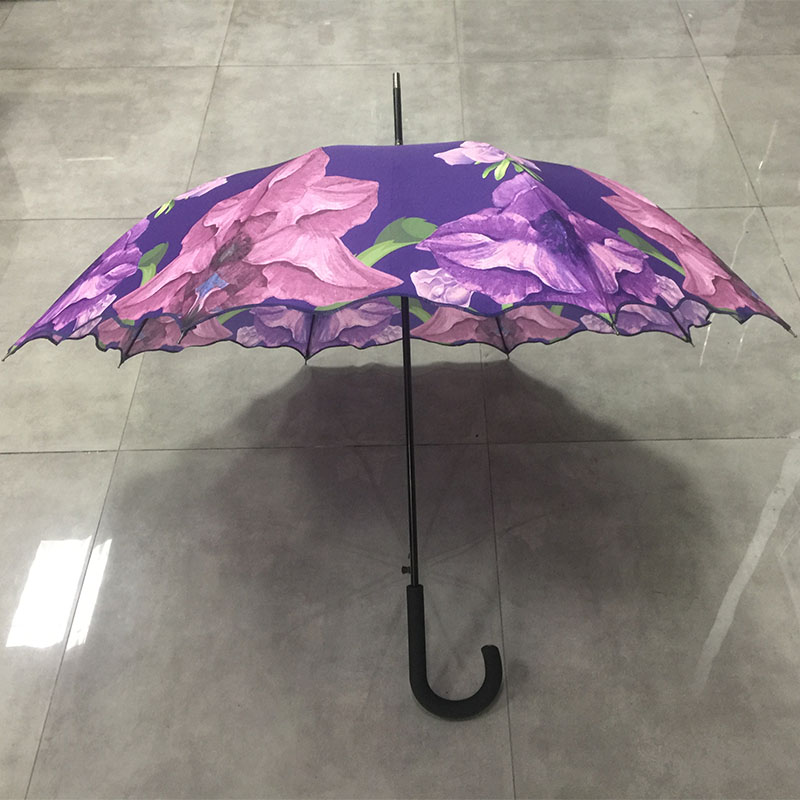 Good quality windproof waterproof custom China made oem straight colorful flower print umbrella for lady