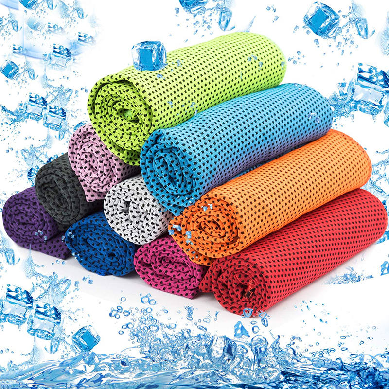 WOLUNTU® Cooling sprot Towel-Instant Cooling Sports Towel Chill Feeling Golf Towel, Super Soft and Breathable Yoga Towel with Special Jars Container with Clip, for Yoga Gym, Sports and School, Ice ...