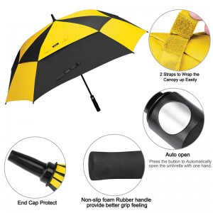 Hot selling cheap big size Black and yellow tone colors umbrella Made in China Auto Windproof Square Golf Umbrella with EVA Handle