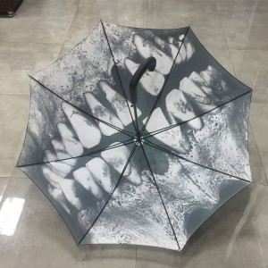 2019 unique design Auto open 190T black polyester fabric sunny and rainy straight umbrella with Skull teeth printing for Christmas gift
