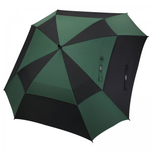"""Top quality 62"""" windproof auto open custom double layers fiberglass large square golf umbrella from China(Green/black)"""