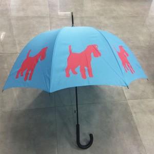 Premium Rain Umbrella With Unique Pet Designs Red/Blue Schnauzer straight Umbrella
