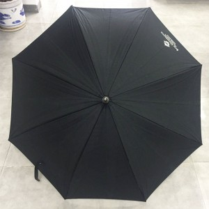 High quality large size double ribs wooden shaft straight umbrella with curved wooden handle Black cotton canopy Parasol Umbrella Factory price direct