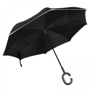 Reverse umbrella with reflective stripe bright in night with C-Shaped Handle;Umgekehrter Regenschirm