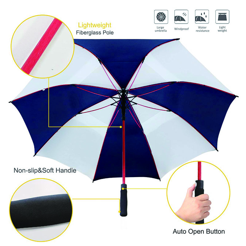 Auto-open-red-ribs-golf-umbrella