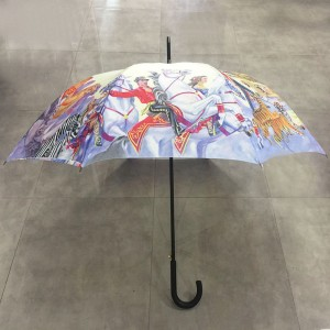 2019 High quality top selling auto open big size circus design straight umbrella with multi colored printing for Exporting to Italy