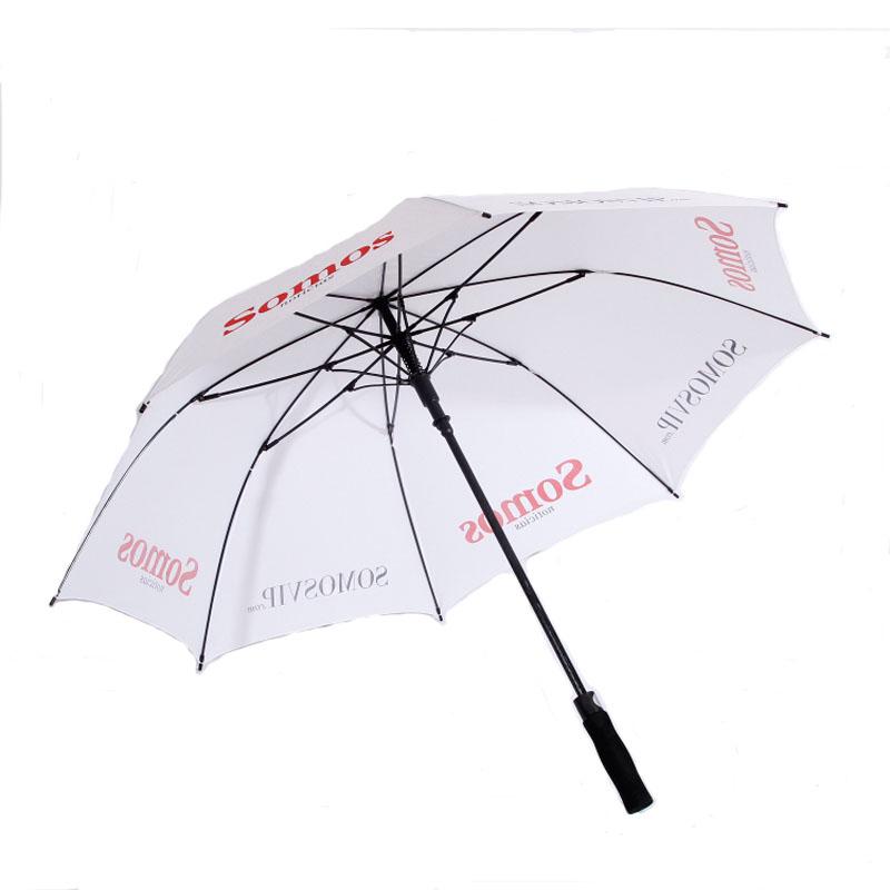 Auto Open Single Golf Umbrella Large for white color;fiber Glass golf umbrella.