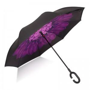 Purple Chrysanthemum flower Stock Custom Double Layer Inside Out C Shape Handle inverted Reverse Umbrella