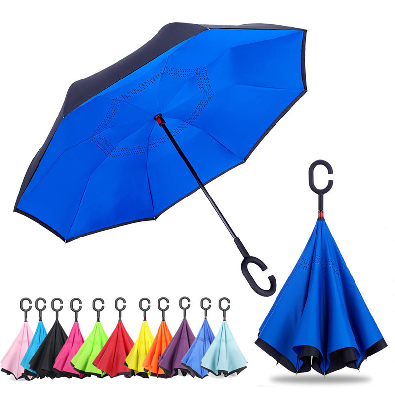 Inverted Umbrella,Double Layer Blue Reverse Umbrella for Car and Outdoor Use by