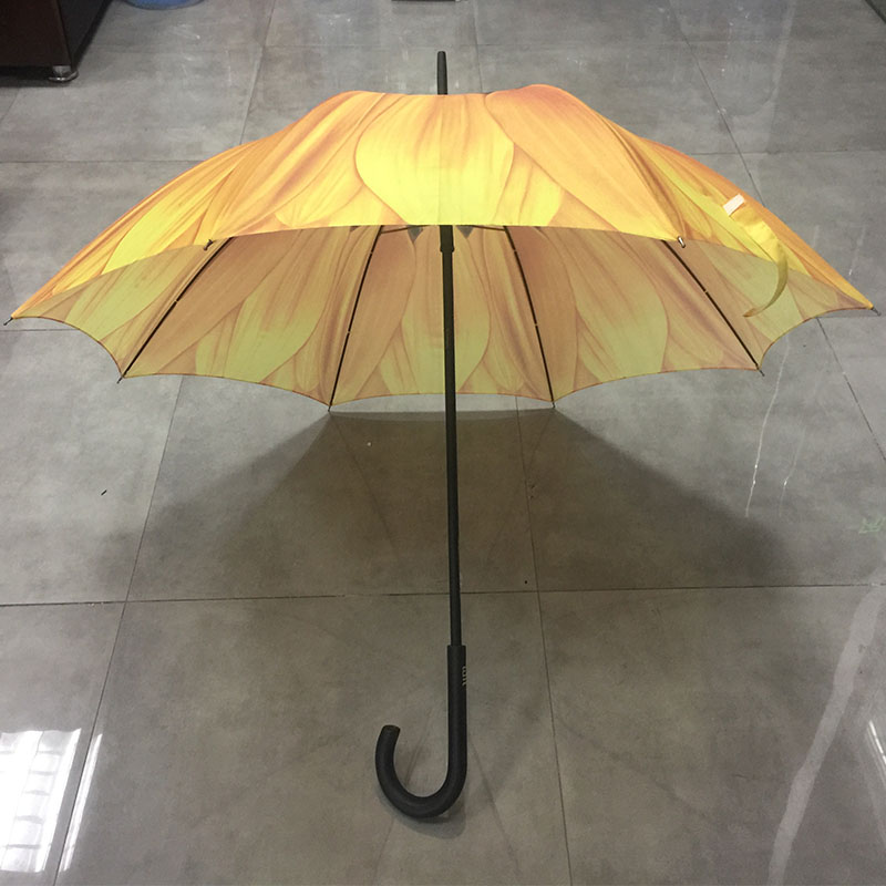 Hot selling cheap custom full color printing nice design straight sunflower umbrella for women in manual wood handle