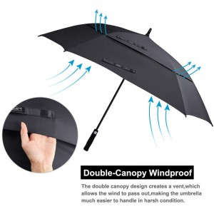 Wholesale high quality 62 Inch Arc Black pongee fabric Custom windproof Vented Square Golf Umbrella double canopy