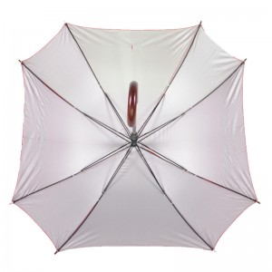 Auto open Red pongee fabric wooden J handle Straight Square shape Umbrella manufacturer