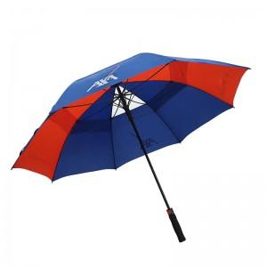 Customized Designs fiberglass double canopy windproof Manufacturer Golf Umbrella Print