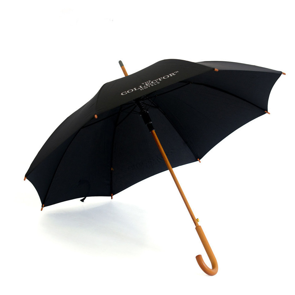 Mens style Classic Black stick straight Automatic Umbrella with WOODEN Crook Handle
