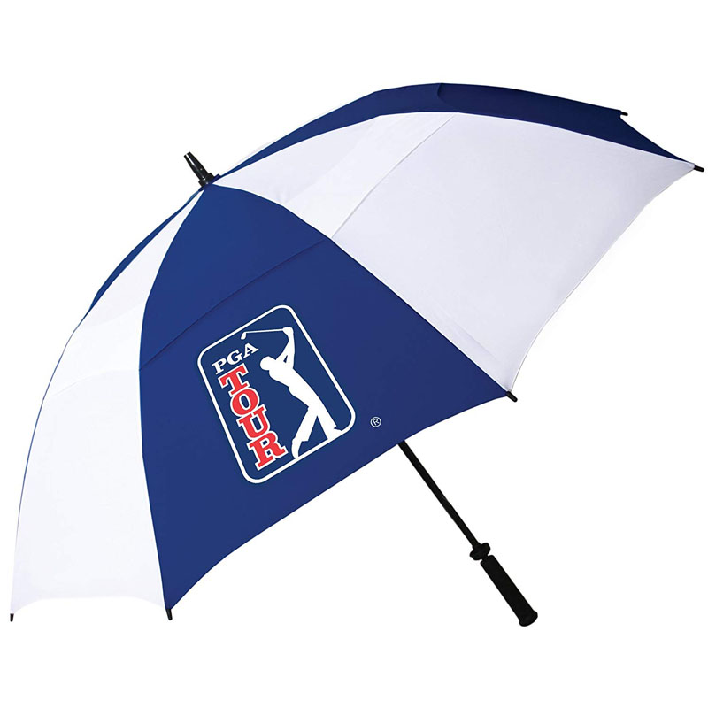 PGA 62-Inch Windproof Navy&white Golf Umbrella Windproof double canopy technology adds stability in windy conditions