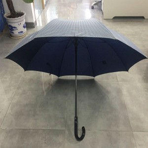 2019 high quality Fashion mens' adult double canopy windpoof custom rain straight stripe umbrella from China supplier (fiberglass umbrella frame)