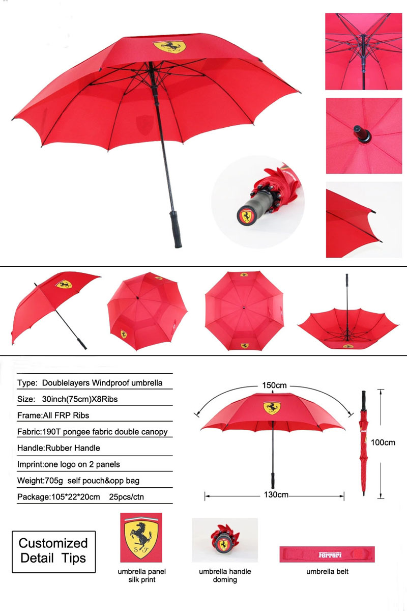 Promotional-automatic-double-layer-windproof-golf-umbrella-For-Porsche-brand-car