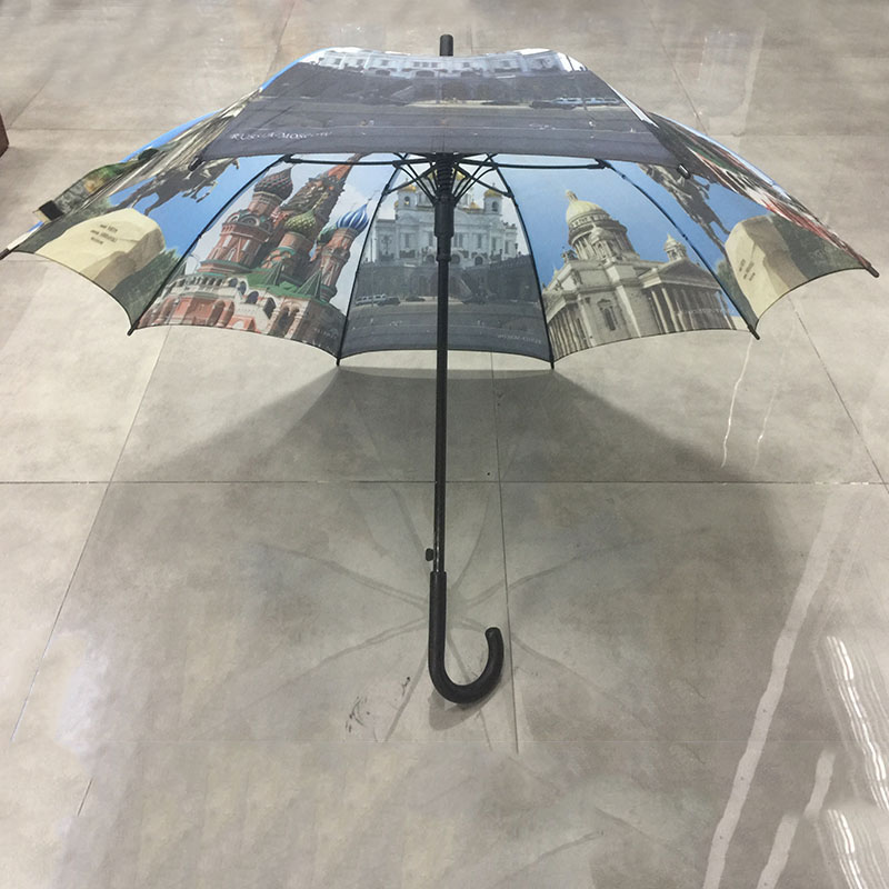 City building printing umbrella Famous castle printing straight umbrella with J wooden handle