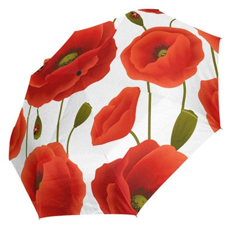 Folding Automatic Red Poppy Flower Ladybug design 3 Folds Auto Open Close Umbrella
