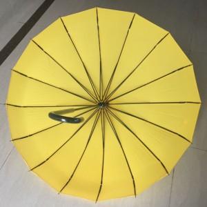 2019 High quality Stylish oriental lady love beautiful yellow straight Custom wedding pagoda umbrella wholesale
