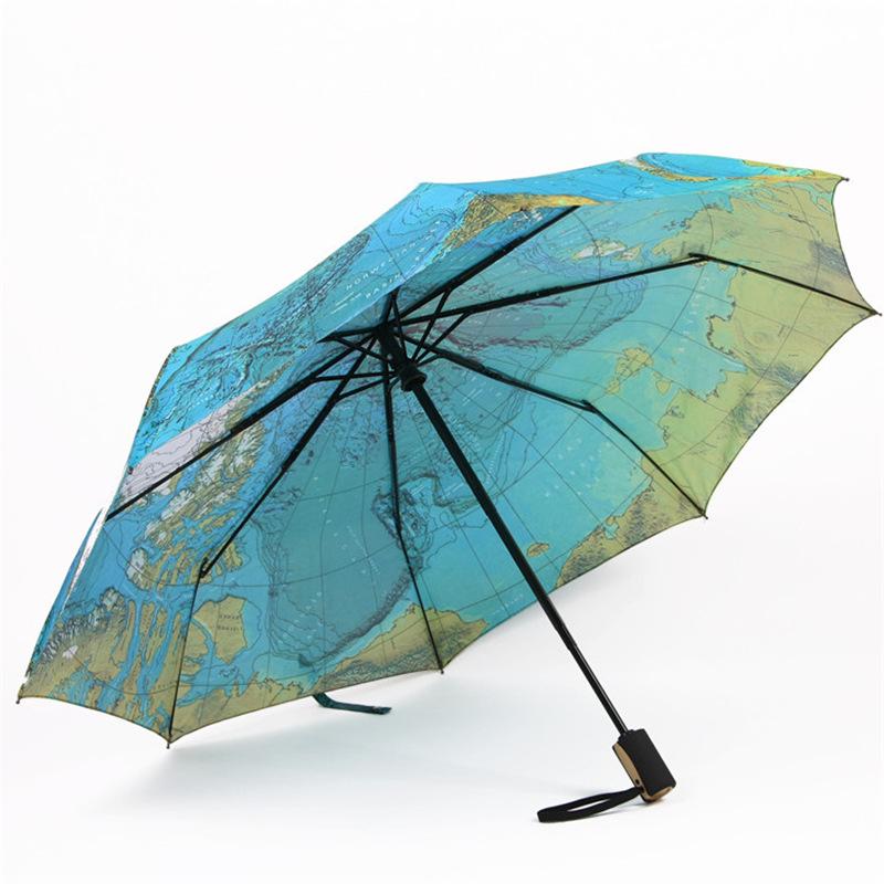 World Map Umbrella Automatic Folding Reinforced Windproof 3 Fold Umbrella