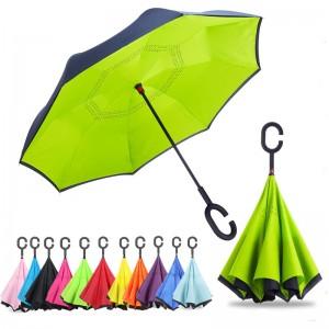 Inverted Umbrella, Umbrella Windproof,Green Reverse Umbrella, Umbrellas for Women with UV Protection, Upside Down Umbrella with C-Shaped Handle