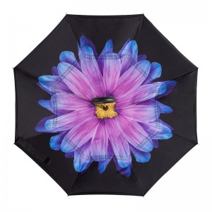 Stock Custom Double Layer Inside Out C Shape Handle Flower  inverted/ Reverse Umbrella