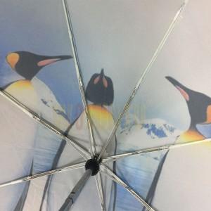 wholesale High Quality Custom OEM Print animal umbrella,New design Auto open/close penguin family fold umbrella penguin kingdom