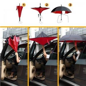 2019 new inverted umbrella reversible umbrella with plastic C handle
