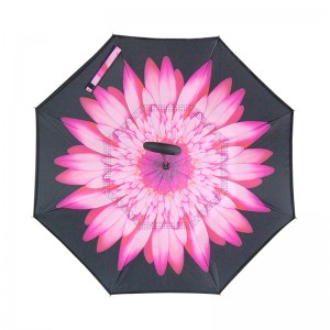Pink Chrysanthemum flower Stock Custom Double Layer Inside Out C Shape Handle inverted Reverse Umbrella