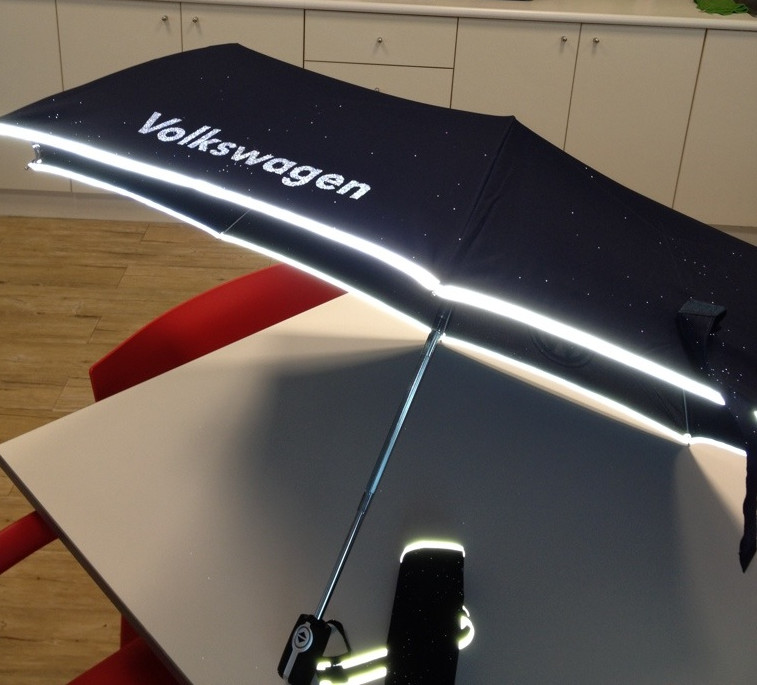 volkswagen Reflective Strip Folding Automatic Umbrella for Navy blue at WOLUNTU®