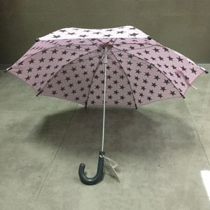 2019 Newest design custom fashion cheap rain pink straight child umbrella manufacturer China with gray color hook plastic handle
