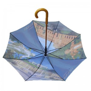 wholesale Top quality Automatic Advertising Creative Design Custom colorful Printing Stick Umbrella with wooden handle