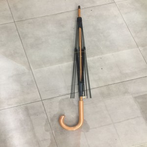 Auto Open Umbrella Frame with  Wooden Hook Handle