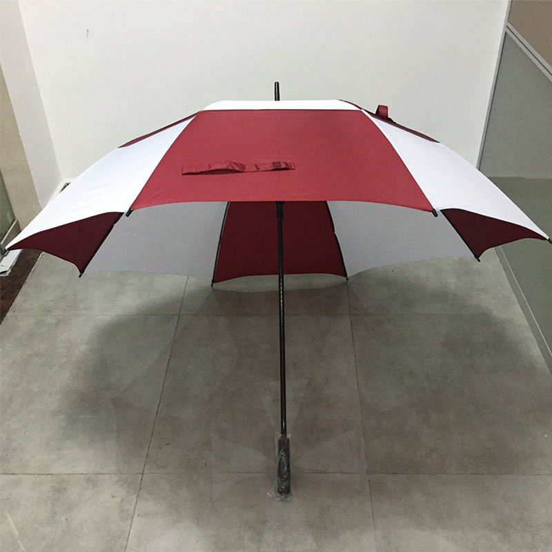 100% quality hot selling cheap Red and white color double canopy strorm windproof Stockschirm voll Fiberglas golf Regenschirm für-Damen-und-Herren (2-Personen large size)