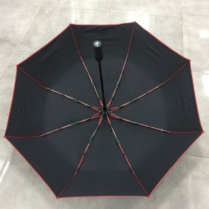 Fully automatic open windproof travel folding umbrella for BMW Car brand Portable Lightweight Umbrella Men's Ladies with plastic wheel handle (Red fibergalss frame)