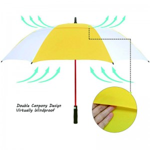 Automatic open windproof 62inch big size custom cheap premium yellow and white golf umbrella for sale