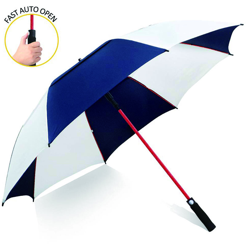 Automatic open white/blue double layers large golf umbrella windproof waterproof red fiberglass umbrella for men women