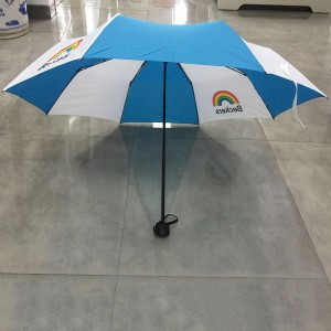 Logo Multicolor Manual Tri-fold Folding Compact Travel Rain Umbrella Strong Windproof