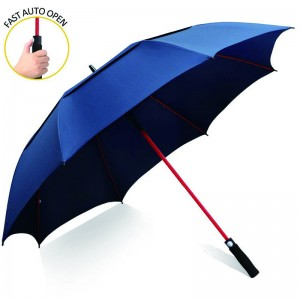 62 Inch Extra Large Vented Auto Open golf Umbrella Long Umbrella blue, Durable and Strong Enough for the Fierce Wind and Heavy Rain, Classic Blue Style with red fibergalss frame Unisex Golf Umbrella in outdoor sun protection