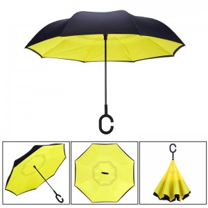 Reversible Umbrella Dual Layer Yellow Inverted Umbrella, Self-Stand & C-Shape Hook to Free Hands, Reverse Inside Out Folding for Car Driver & Passenger, with Carrying Sleeve