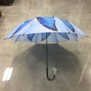 Wholesale windproof Automatic stick striaght High quality Womens Fashion gift Colorful Butterfly Umbrella for sale