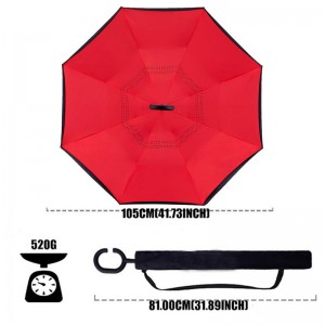 Double Layer Inverted Umbrella with C-Shaped Handle,Windproof Straight Umbrella for Car Rain Outdoor