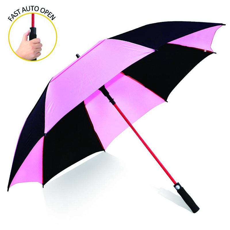 New design 190T pongee(Pink and black) auto open double canopy vented extra large golf umbrella with red fiberglass frame and shaft